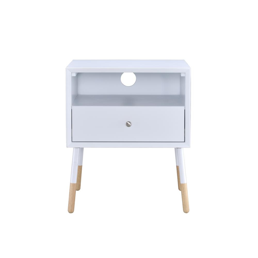 Sonria II White and Natural End Table