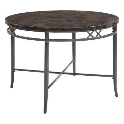Burnett Faux Marble and Dark Gray Dining Table