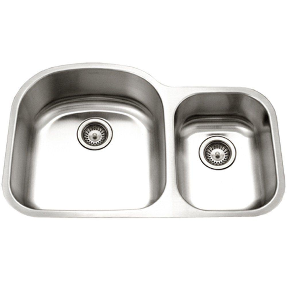 Genial HOUZER Eston Series Undermount Stainless Steel 32 In. 70/30 Double Bowl  Kitchen Sink
