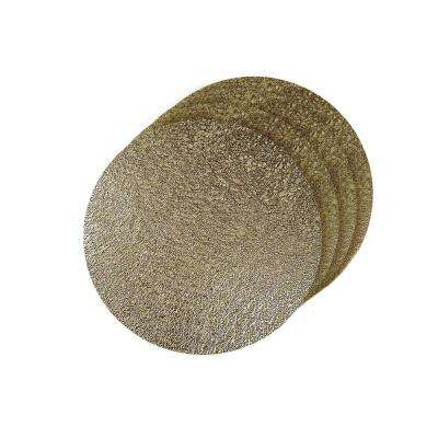 Lacey Gold Metallic Scribble Design Round Placemats (Set of 4)