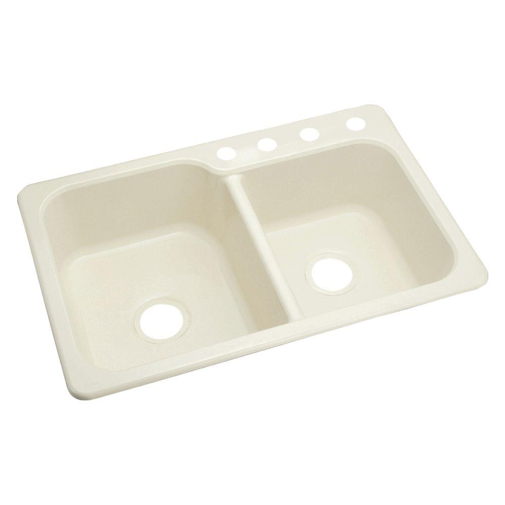 STERLING Maxeen Self Rimming Vikrell 33x22x8-3/8 4-Hole Single Bowl Kitchen Sink in Biscuit