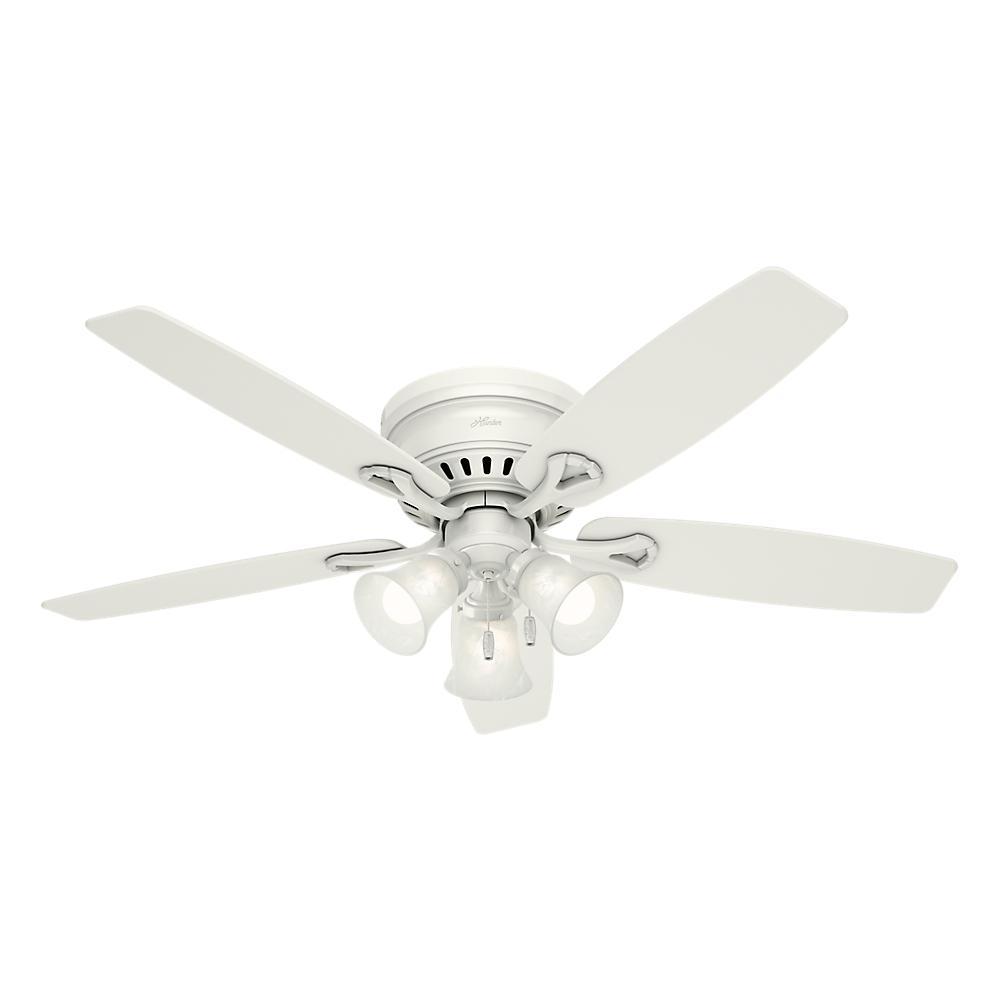 Hunter oakhurst 52 in led low profile indoor white ceiling fan led low profile indoor white ceiling fan with light kit aloadofball Gallery