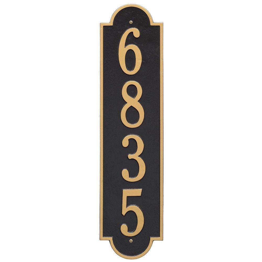 Richmond Estate Rectangular Black/Gold Wall 1-Line Vertical Address Plaque