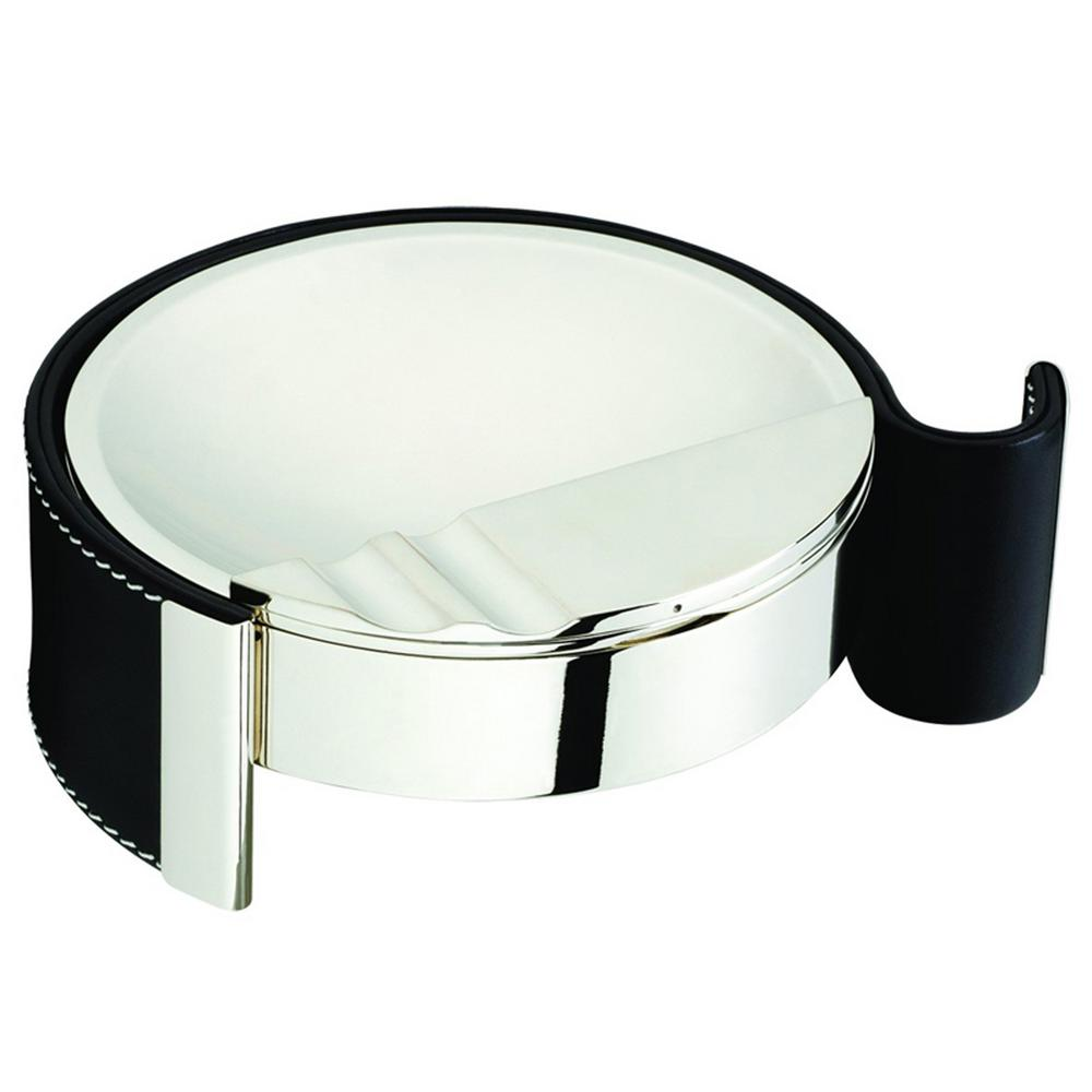 Cape Town Metal and Black Leather Cigarette Ashtray