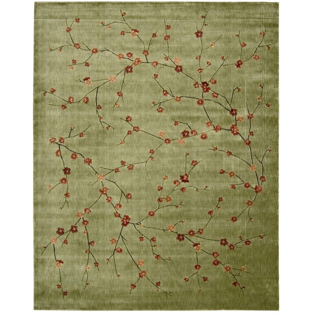Nourison Overstock Cherry Blossom Green 5 ft. 6 in. x 7 ft. 5 in. Area Rug