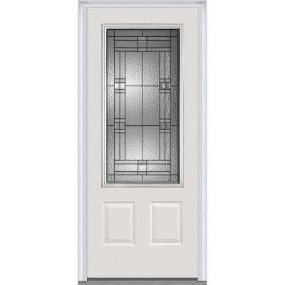 36 in. x 80 in. Roman Right-Hand Inswing 3/4-Lite Decorative 2-Panel Primed Fiberglass Smooth Prehung Front Door