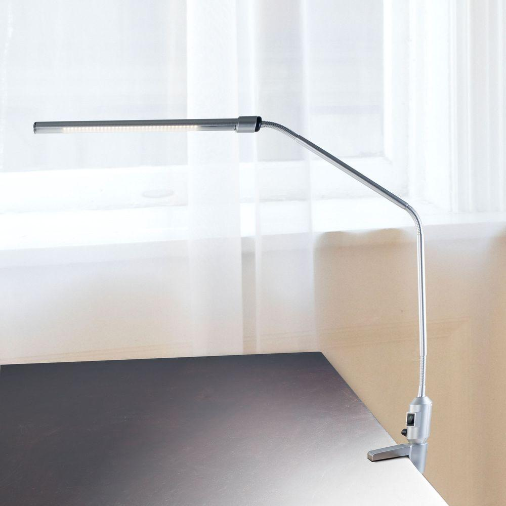 Lavish Home 41 In Silver Modern Contemporary Led Clamp Desk Lamp