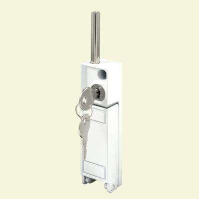 White Patio Door Keyed Bolt Lock