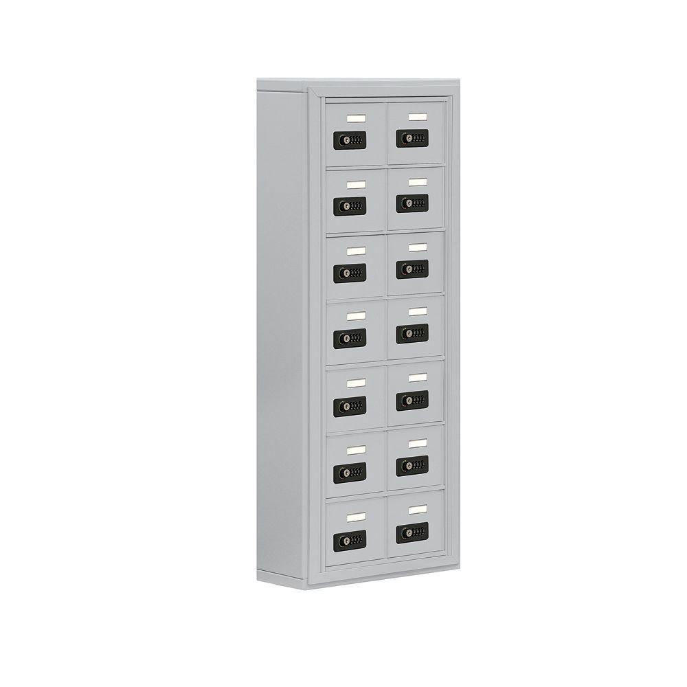 Salsbury Industries 19000 Series 17.5 in. W x 42 in. H x 6.25 in. D 14 A Doors S-Mount Resettable Locks Cell Phone Locker in Aluminum
