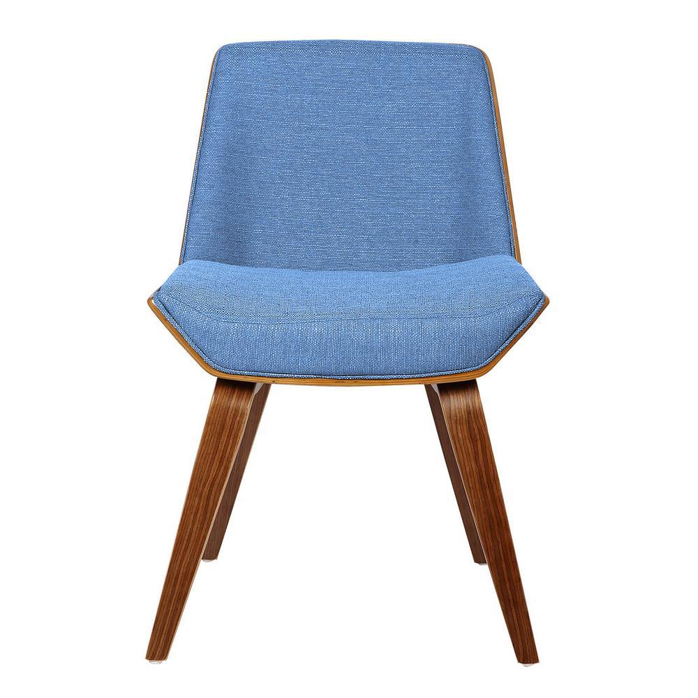 Armen Living Agi Blue Fabric Mid-Century Side Chair with Walnut Wood