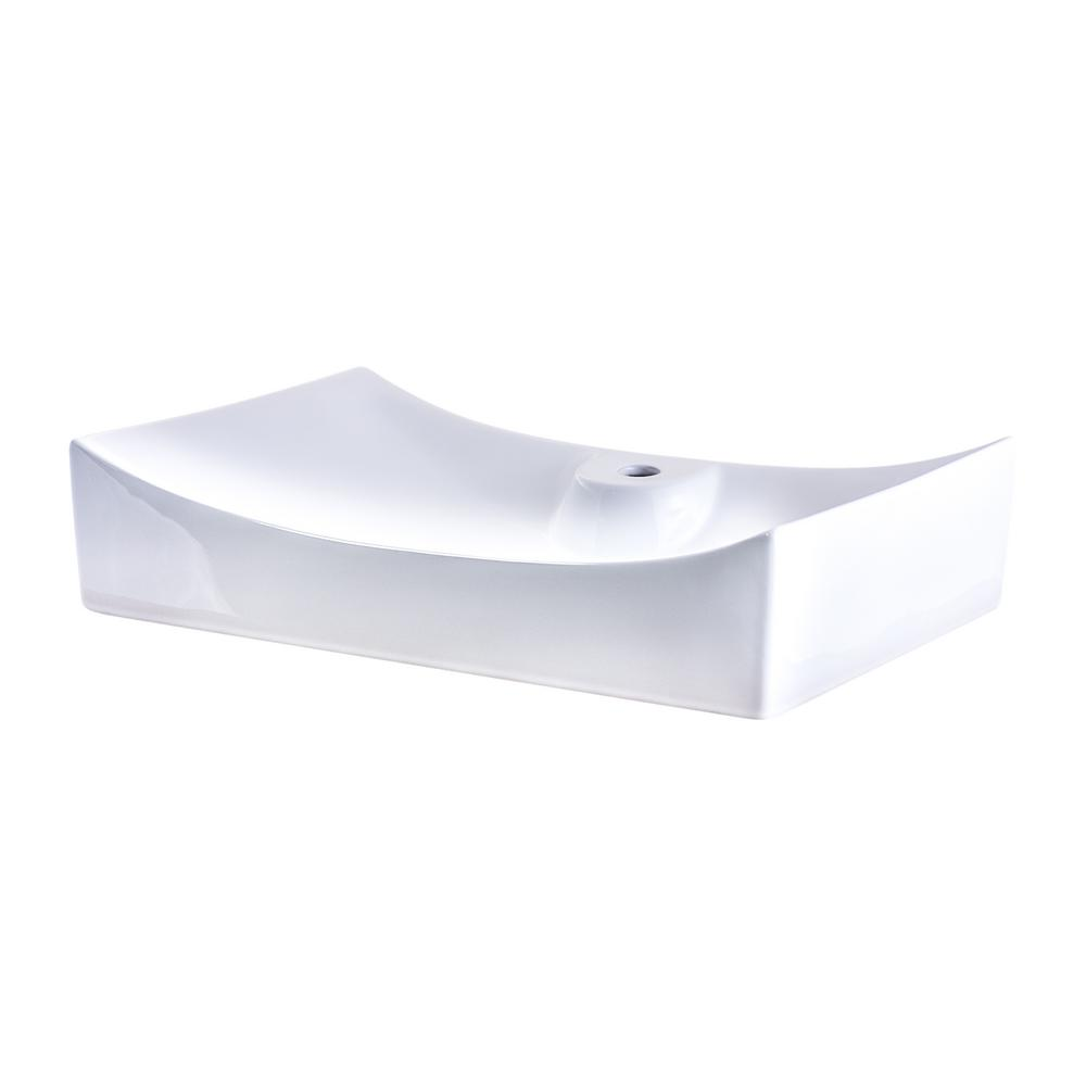 Rectangle Porcelain Vessel Sink in White