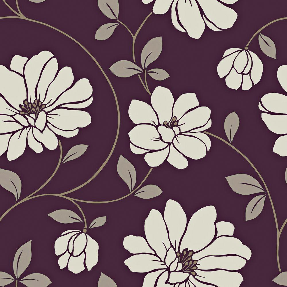 The Wallpaper Company 56 sq. ft. Purple and White Large Scale Dramatic Floral Wallpaper