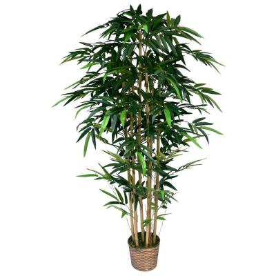 6 ft. Tall High End Realistic Silk Bamboo Tree with Wicker Basket Planter