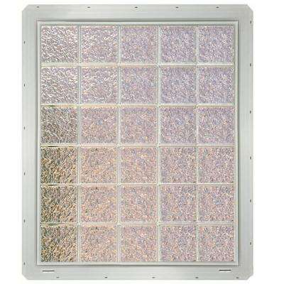 39.25 in. x 46.75 in. x 3.25 in. Ice Pattern Glass Block Window with White Colored Vinyl Nailing Fin
