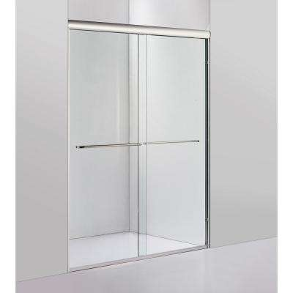 72 in. x 60 in. Framed Sliding Shower Door in Brushed Nickel with Towel Bar