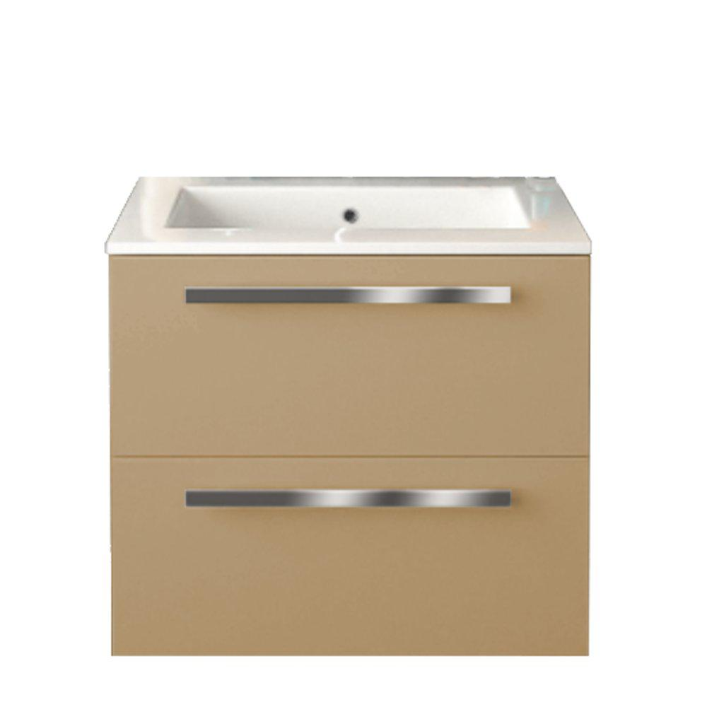 LaToscana Ambra 24 in. W x 18-1/10 in. D Bath Vanity in Glossy Sand with Tekorlux Vanity Top in White with White Basin