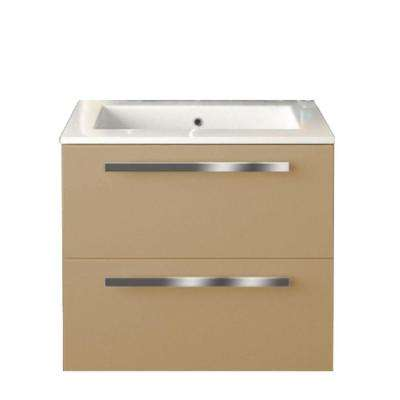 Ambra 24 in. W x 18-1/10 in. D Bath Vanity in Glossy Sand with Tekorlux Vanity Top in White with White Basin