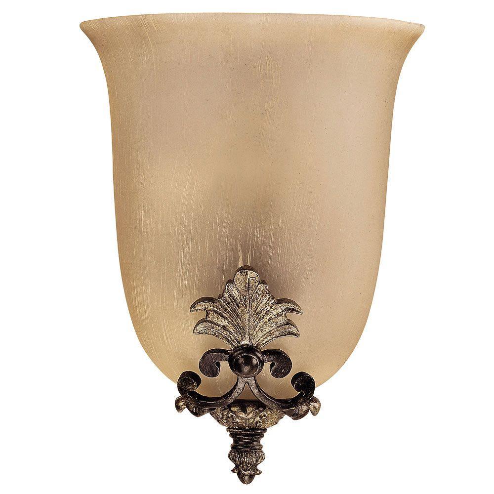 Illumine 1-Light Moroccan Bronze Cream Half Moon Sconce with Dupioni Glass