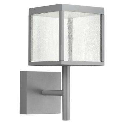 Reveal Medium Square 1-Light Satin Gray LED Outdoor Wall Mount Sconce with Seeded Glass Diffuser
