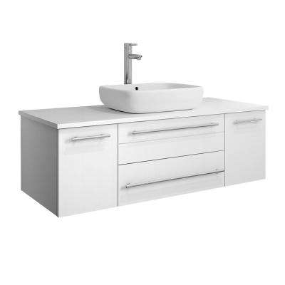 Lucera 48 in. W Wall Hung Bath Vanity in White with Quartz Stone Vanity Top in White with White Basin