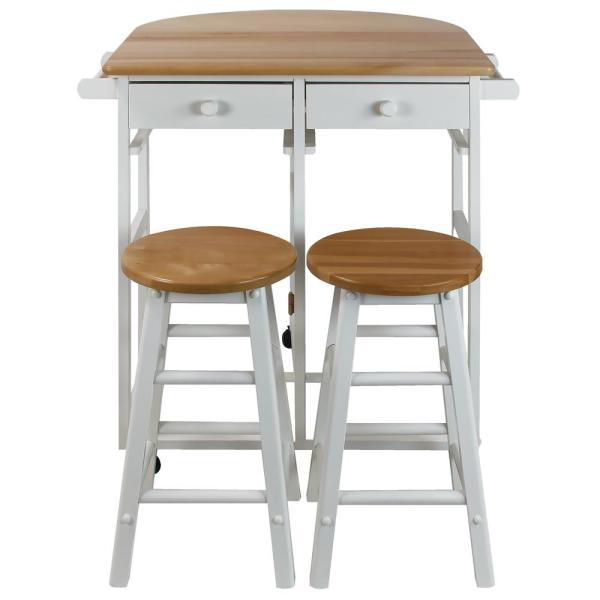 White Breakfast Cart with Drop-Leaf Table