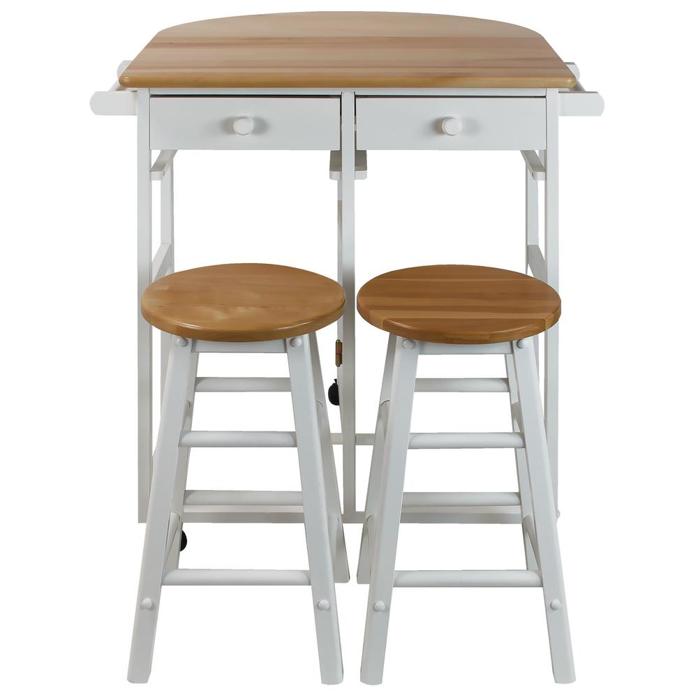 Casual Home White Breakfast Cart with Drop-Leaf Table