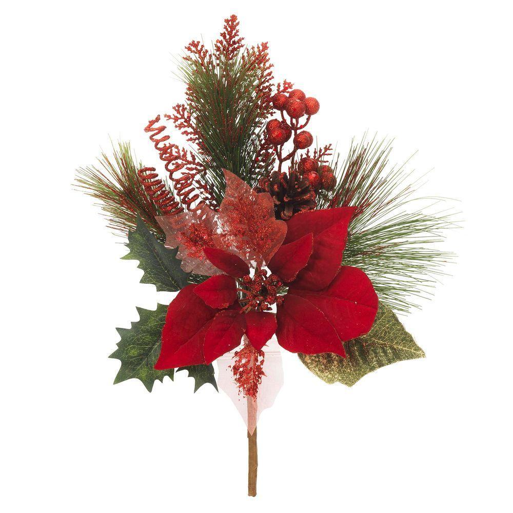 16.5 in. Red Glitter Poinsettia Pick