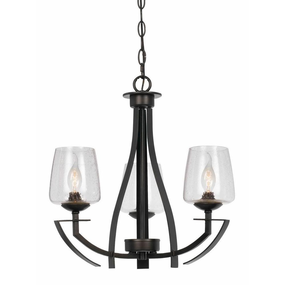 Black Chandelier Fan: CAL Lighting 3-Light Hardwire Ceiling Mount Organic Black
