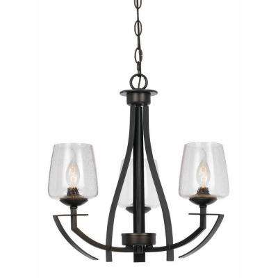 3-Light Hardwire Ceiling Mount Organic Black Chandelier