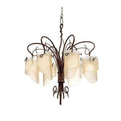 Soho 6-Light Hammered Ore Chandelier with Brown Tint Ice Glass