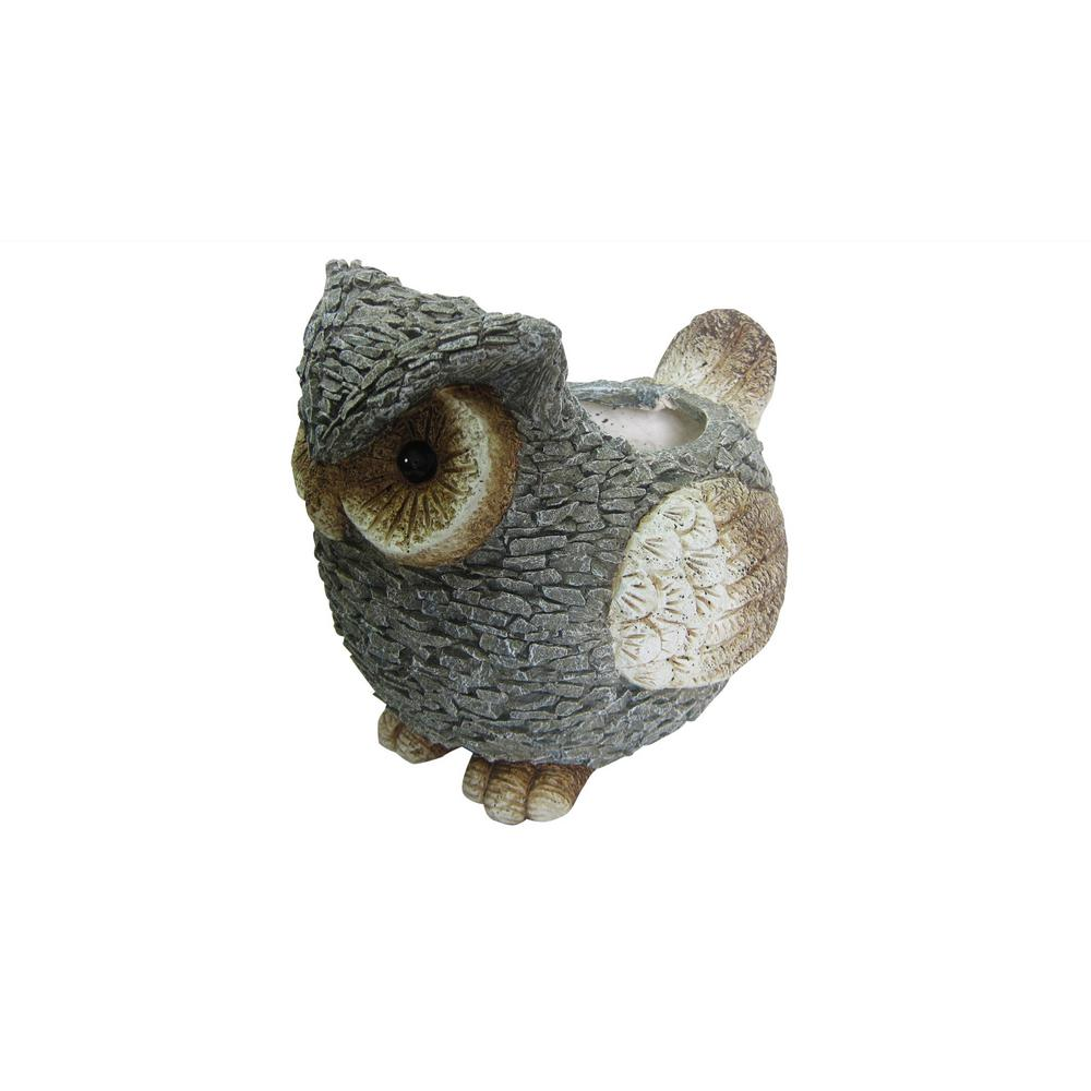 14 in. Magnesia Cement Owl Garden Planter