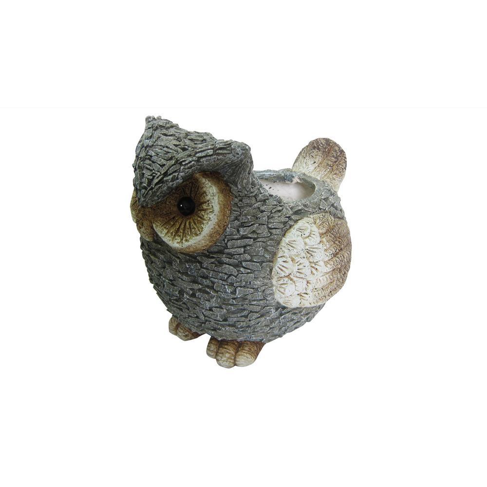 14 in. Magnesia Cement Owl Garden Planter