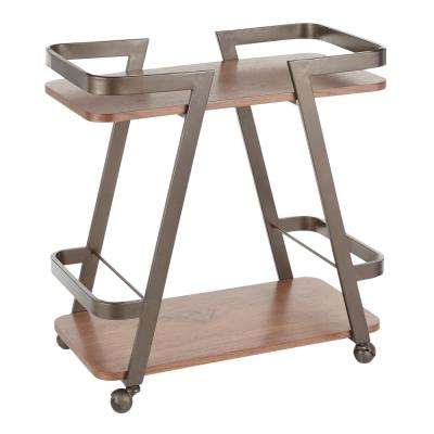 Seven Antique Metal Industrial Bar Cart with Walnut Wood