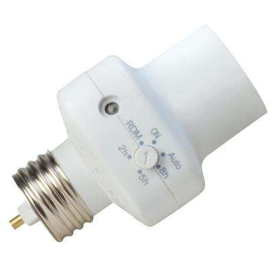 2-5-8 Hour Photocell Control Light Socket Timer, White