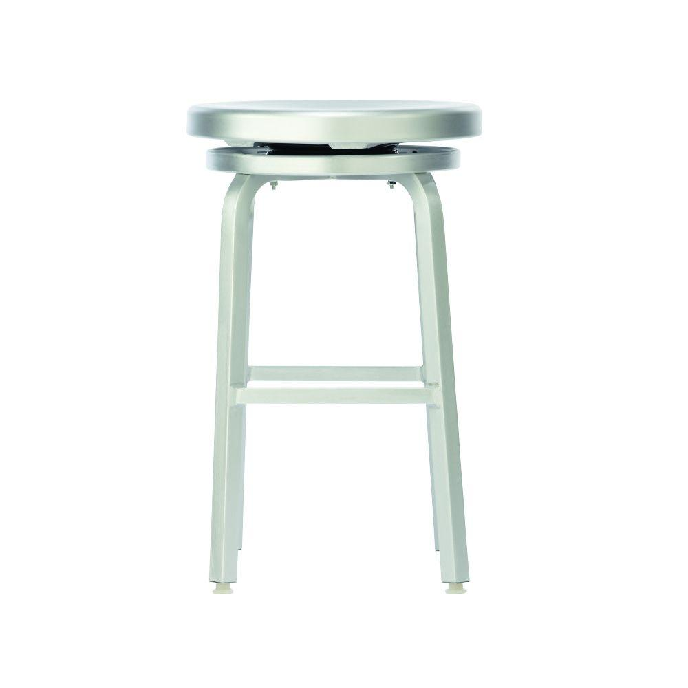 Home Decorators Collection Melanie 24 In Brushed Aluminum Swivel Bar Stool 2446410440 The Home Depot