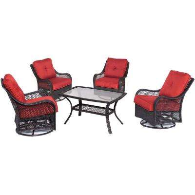 Orleans 5-Piece Wicker Patio Conversation Set with Autumn Berry Cushions