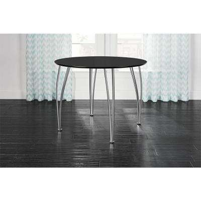 Brentwood 39.5 in. Round Black Dining Table with Chrome Legs