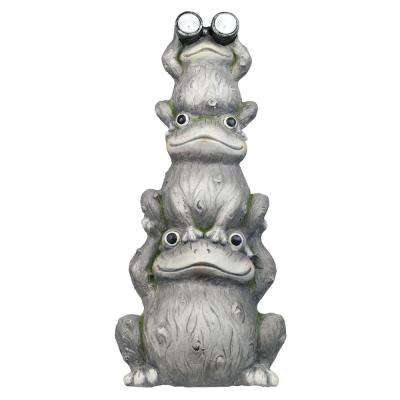 24 in. Tall Solar 3 Stack Frogs Statue with LED Light