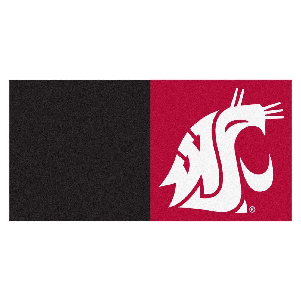NCAA - Washington State University Red/Black Pattern 18 in. x 18 in. Carpet Tile (20 Tiles/Case)