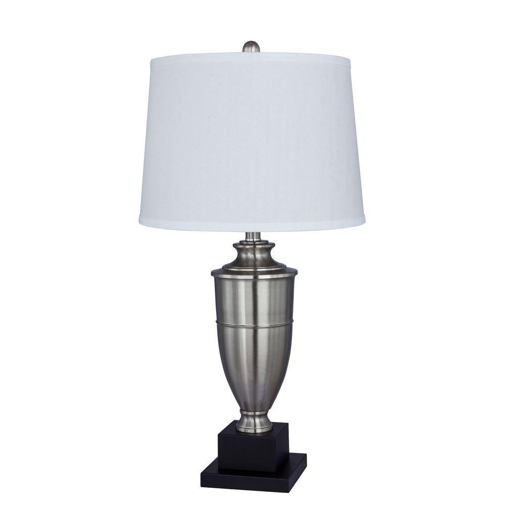30 in. Brushed Steel Metal Table Lamp