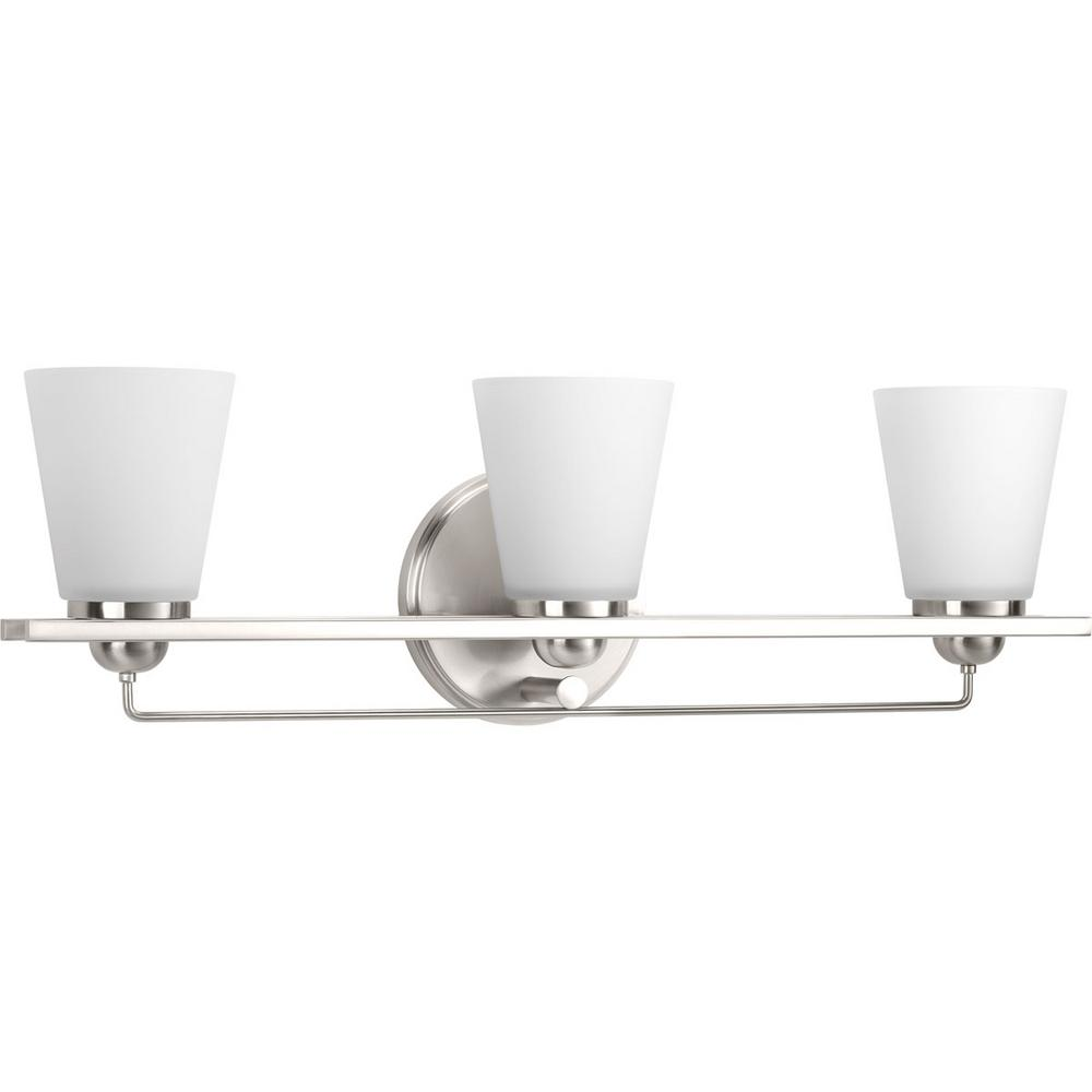 Flight Collection 3-Light Brushed Nickel Vanity Light with Etched Glass Shades