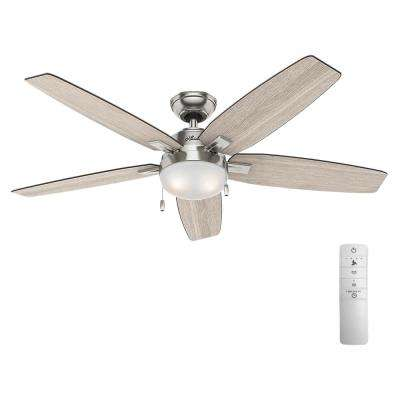 Antero 54 in. LED Indoor Brushed Nickel Smart Ceiling Fan with Light and WINK Remote Control