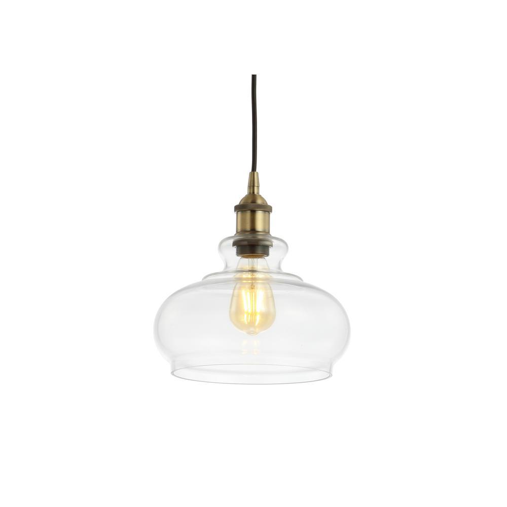 Wyatt 9.5 in. 1-Light Brass Gold Adjustable Drop Pharmacy Metal/Glass LED Pendant