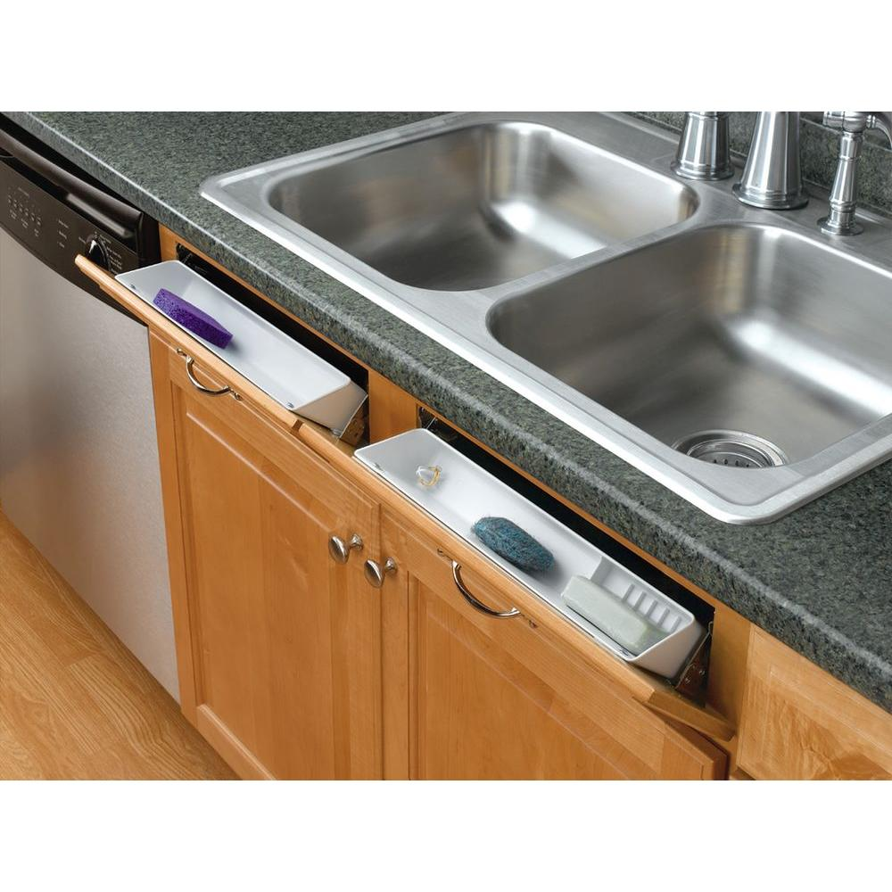 Rev-A-Shelf 3.8125 in. H x 14 in. W x 2.125 in. D White Polymer Tip Out In-Cabinet Sink Front Trays and Hinges