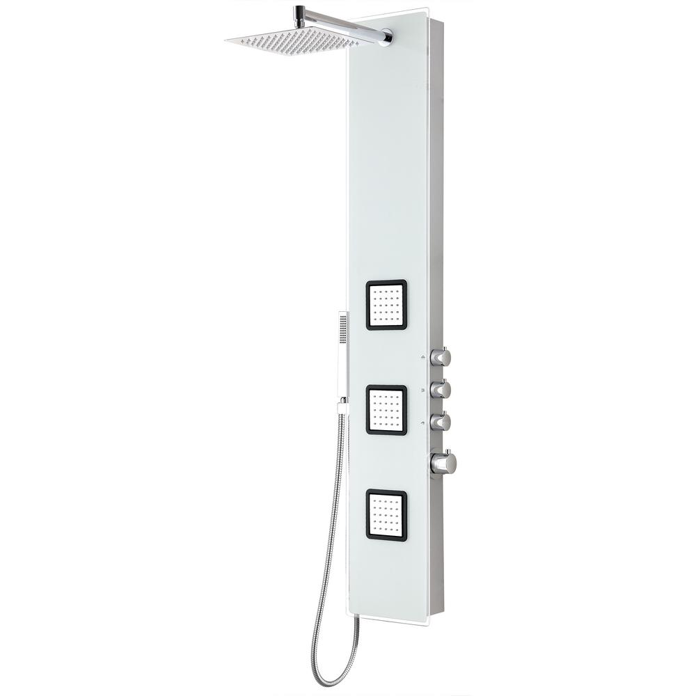ANZZI Leopard 60 in. 3-Jetted Full Body Shower Panel with Heavy Rain Shower and Spray Wand in White (Valve Included)
