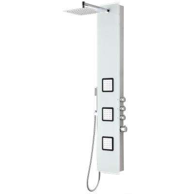Leopard 60 in. 3-Jetted Full Body Shower Panel with Heavy Rain Shower and Spray Wand in White (Valve Included)