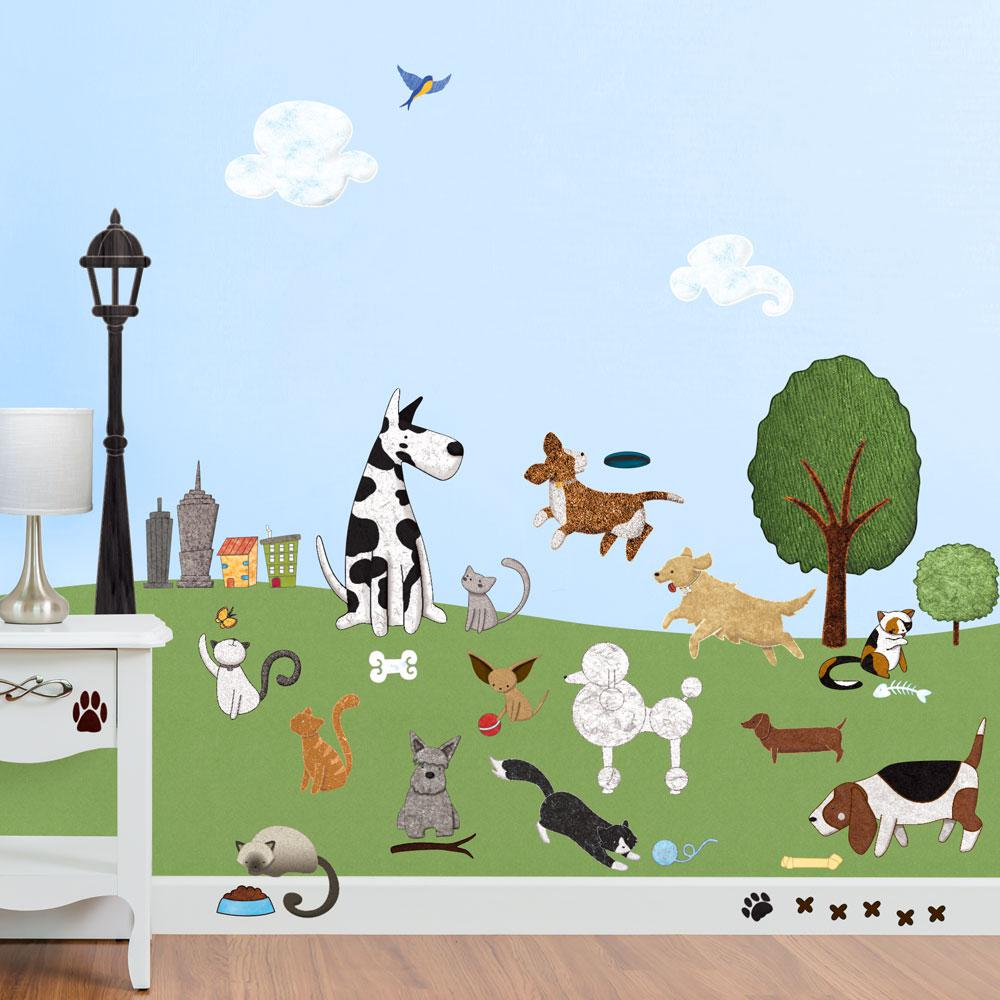 Cat And Dog Park Peel And Stick Removable Wall Decals Animal Theme (36 Piece