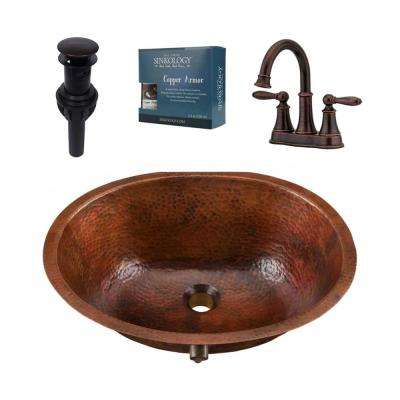 Freud All-in-One Undermount Copper Bathroom Sink Design Kit with Pfister Rustic Bronze Faucet and Drain