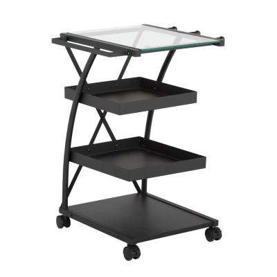 Triflex 18.5 in. W x 16 in. D x 25.5 in. H Metal and Glass Craft Supply Storage Mobile Taboret Cart