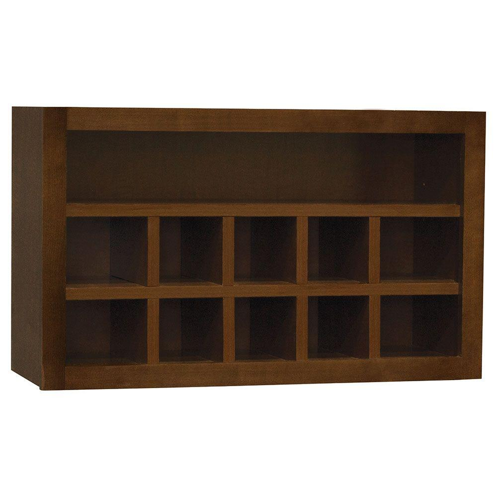 Hampton Bay Hampton Assembled 30x18x12 in. Wall Flex Kitchen Cabinet with  Shelves and Dividers in Cognac